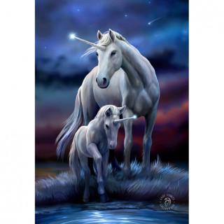 Carte postale Effets 3D à licorne et son petit - Anne Stokes