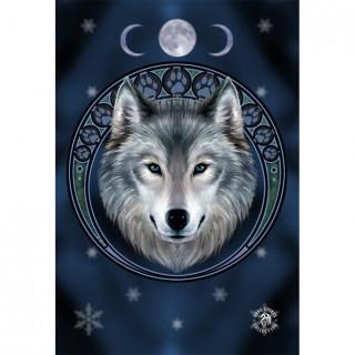 Carte postale Effets 3D à loup bienveillant et nuit étoilée - Anne Stokes