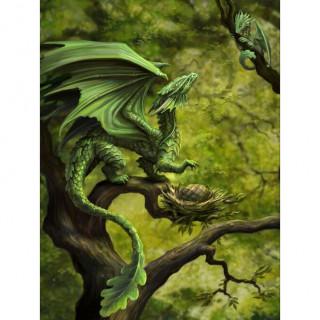 Carte postale Effets 3D à maman dragon de la foret et ses petits - Anne Stokes