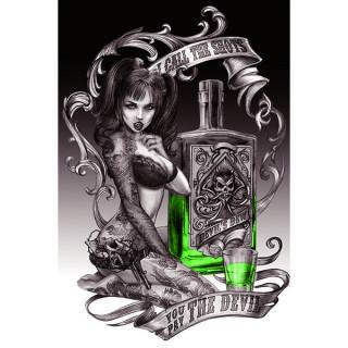 Carte postale Effets 3D à Pinup tatouée et bouteille d'absinthe