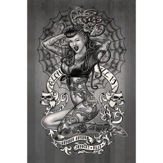 Carte postale Effets 3D à Pinup tatouée et serpents