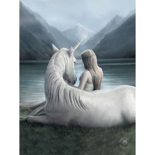 Carte postale Effets 3D femme et licorne des montagnes - Anne Stokes