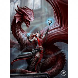 Carte postale Effets 3D femme mage et dragon - Anne Stokes