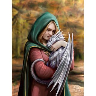 Carte postale Effets 3D femme protectrice des dragons - Anne Stokes