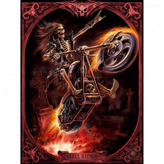 "Carte postale Effets 3D ""Hell Rider"" à motard squelette enflammé - Anne Stokes"