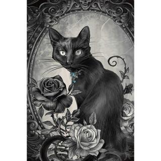Carte postale gothique Effets 3D à chat noir et roses - Alchemy