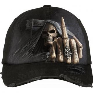 Casquette goth-rock avec la Mort faisant un fuck