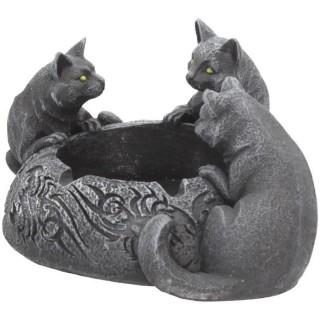 Cendrier gravé tribal à trio de chats noires - Nemesis Now