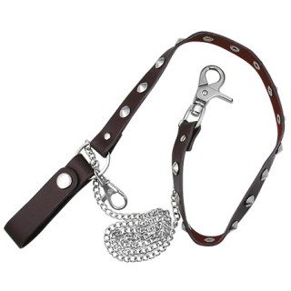 chaine de portefeuille avec lanière cuir à pointes plates