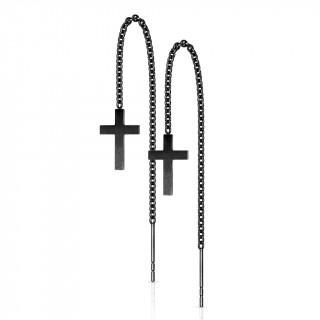 Chaines d'oreilles noires en acier à croix suspendues (Paire)