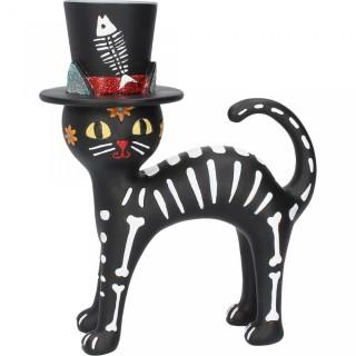 Chat à chapeau et peinture squelette - 20.7cm