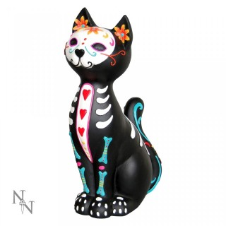 Chat noir assis style day of the dead - Sugar Puss (26cm)