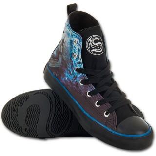 Chaussures gothiques Sneakers femme à cranes en face à face et flammes bleues