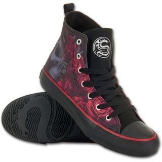 Chaussures gothiques Sneakers femme avec crane et roses ensanglantées