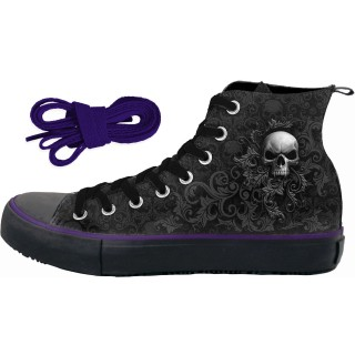 Chaussures gothiques Sneakers femme à imprimé cranes façon florale