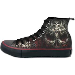 Chaussures gothiques Sneakers homme à crane formé d'ossements et croix gothique