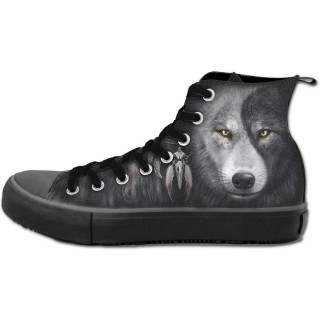 Chaussures gothiques Sneakers homme avec loup inspiration Yin et Yang