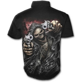 Chemise gothique homme à manches courtes avec La Mort pointant ses pistolets