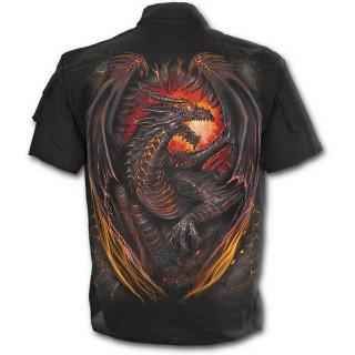 Chemise gothique homme à manches courtes avec dragon flamboyant
