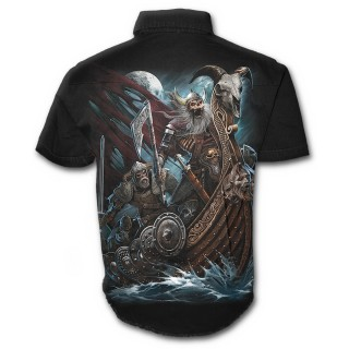 Chemise gothique homme à manches courtes avec guerriers viking en squelettes sur leur Drakkar