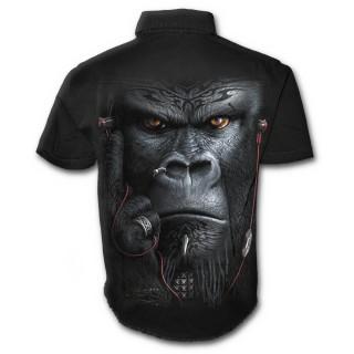 Chemise gothique homme à manches courtes à gorille tatoué tribal avec écouteurs