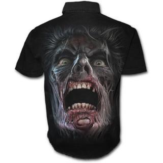 """Chemise gothique homme à manches courtes """"marche des morts"""" avec zombies et éclairs"""