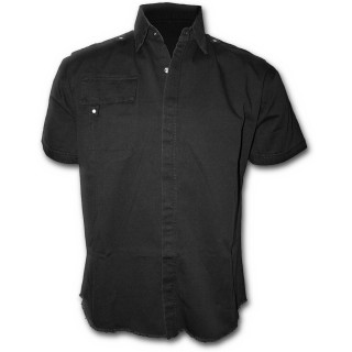 """Chemise gothique homme à manches courtes noire style """"METAL STREETWEAR"""""""