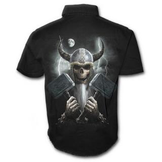 Chemise gothique homme à manches courtes à squelette viking avec marteaux et casque à cornes