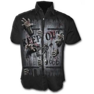 Chemise gothique homme à manches courtes à zombies enfermés