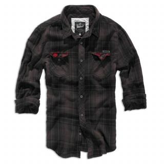 Chemise homme à carreaux noirs et rouges - Brandit