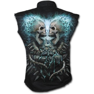 Chemise homme gothique sans manche à cranes en face à face et flammes bleues