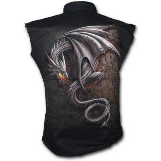 Chemise homme gothique sans manche avec dragon gris sur lave craquelée