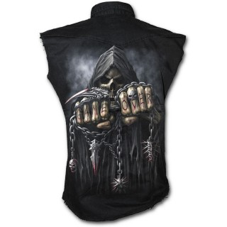 Chemise homme gothique sans manche avec la Mort à chaine de combat