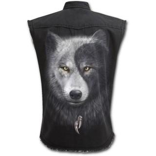 Chemise homme gothique sans manche avec loups et attrape rêve inspiration Yin et Yang
