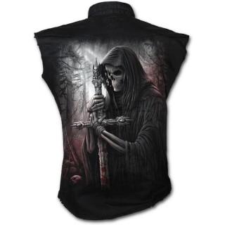 achat chemise homme gothique sans manche avec squelette. Black Bedroom Furniture Sets. Home Design Ideas
