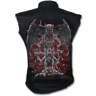 Chemise homme gothique sans manche avec Totem démoniaque et crane ailé