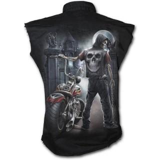 mieux choisir profiter du prix de liquidation site réputé Achat Chemise homme sans manche avec biker squelette et moto ...