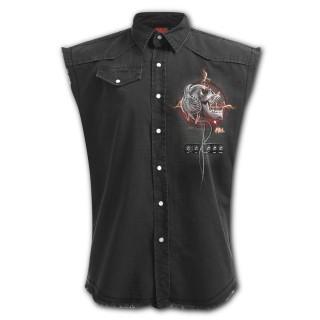 Chemise sans manche à crane rock et casque squelette