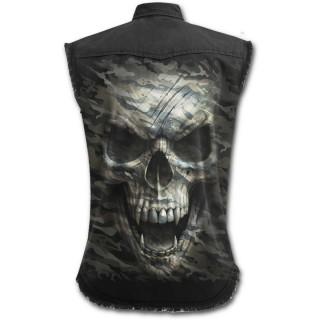 Chemise sans manche homme à tête de mort camouflage