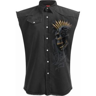 Chemise sans manche homme crane punk tatoué à crête de balles