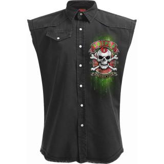 Chemise sans manche homme goth-rock à squelette tenant une bière