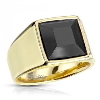 Chevalière homme dorée en acier à pierre noire carrée