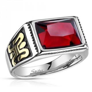 Chevalière mixte en acier à pierre rouge et symbole mystérieux
