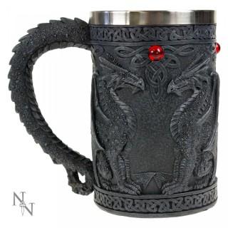 Chope à bière médiévale à dragons en face à face