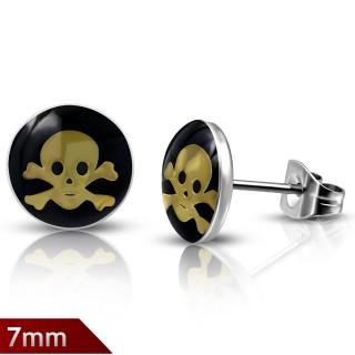 Clous d'oreilles avec tête de mort pirate dorée sur fond noir