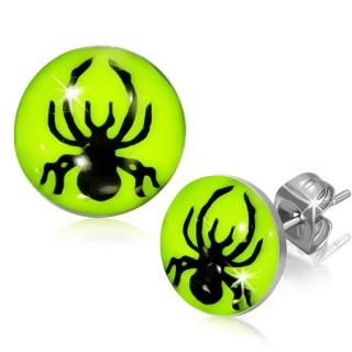 Clous d'oreilles coloris fluo avec araignée