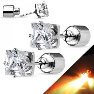 Clous d'oreilles en acier à strass carré clignotant LED