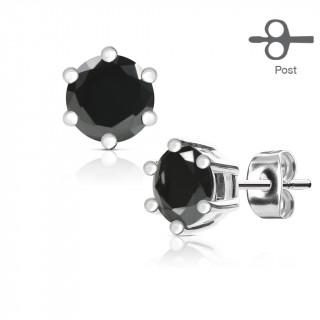 Clous d'oreille acier gemme noire couronnée (paire)