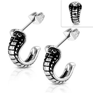 Clous d'oreille acier à serpent cobra relief (Paire)