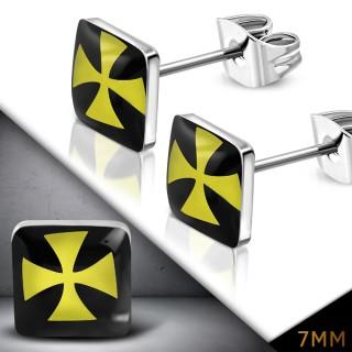 Clous d'oreille carrées à croix de malte jaune